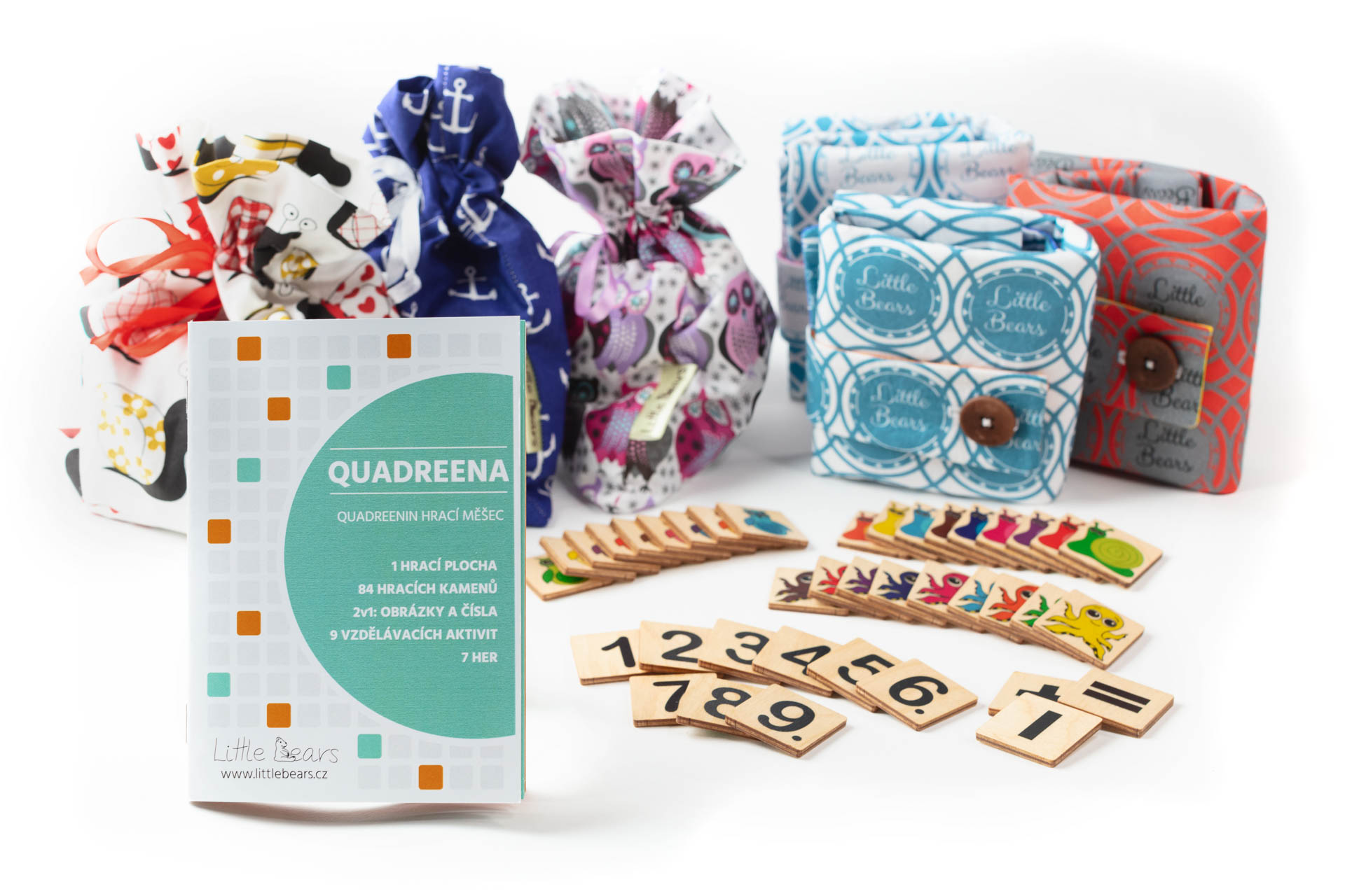Logická hra QUADREENA, která je kombinací obrázkového a číselného sudoku. Vhodné pro předškolní a mladší školní věk.